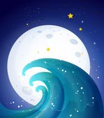 Moonlight and the waves — Vector de stock