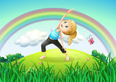 A girl stretching at the top of the hill with a rainbow — Stock Vector