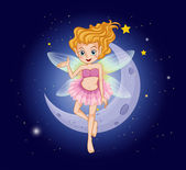 A fairy with a pink dress near the moon — Stock Vector