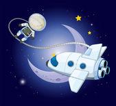 A young explorer near the moon — Stock Vector