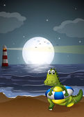 A crocodile at the beach — Stock Vector
