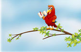 A parrot reading above a branch of a tree — Stock Vector