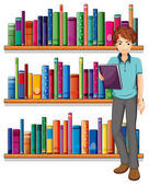 A man in the library — Stock Vector