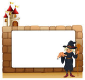 A witch with a cane in front of the empty signboard — Stock Vector