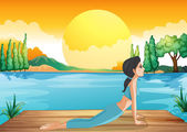A girl performing yoga along the river — Stock Vector
