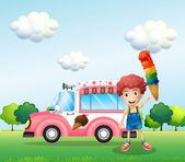 A boy holding a cone with multiple layers of ice cream — Stock Vector