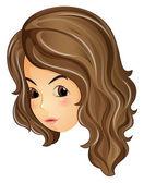 Kıvırcık saçlı kız yüzü — Stok Vektör