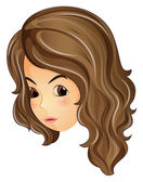 Tvář kudrnaté vlasy girl — Stock vektor