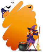 A witch holding a broomstick beside her magical pot — Stock Vector