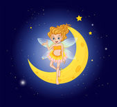 A fairy at the sky near the moon — Stock Vector