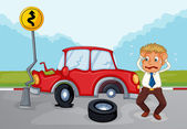 A worried man beside his damaged car — Stock Vector
