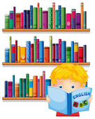 A boy reading with a wooden shelves at the back — Stock Vector