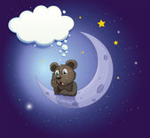A bear with an empty callout leaning over the moon — Stock Vector