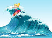 A brave female surfer — Stock Vector