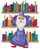 A wizard in the library — Stock Vector