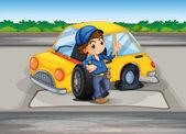 A boy reparing the damaged car — Stock Vector