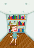 A fashionable young girl inside a room full of books — Stock Vector