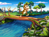 A monkey crossing the river — Stock Vector