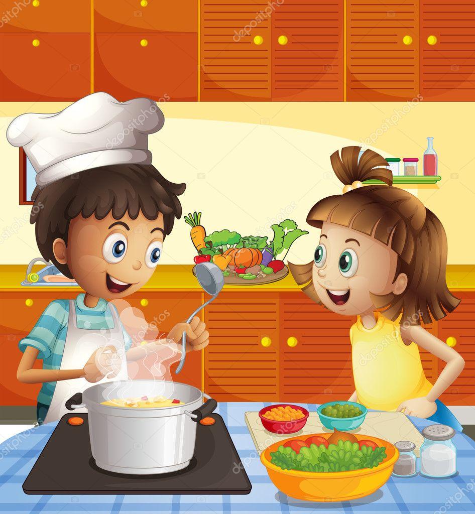 Ni os cocinar en la cocina vector de stock for Cocinar imagenes animadas