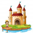 A king outside his castle — Stock Vector