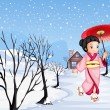 A chinese girl holding an umbrella walking outside with snow — Stock Vector