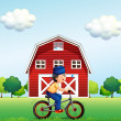 A Muslim boy biking near the barnhouse — Stock Vector #27415663