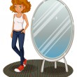 A teenage girl beside the mirror — Stock Vector