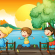 Children playing in the river — Stock Vector