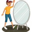 A boy beside a mirror — Stockvectorbeeld