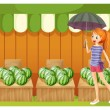 A girl in front of the watermelons — Stock Vector #27415717
