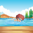 A boy swimming near the diving board — Stock Vector