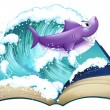 Stock Vector: Storybook with shark and big wave
