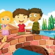 Three kids at the bridge  — Stock Vector