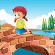 A girl crossing the bridge — Stock Vector
