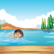 A male swimmer rehearsing near the diving board — Stock Vector