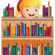 A girl with a pink headband hiding at the back of the shelves — Stock Vector
