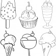 Sketches of the different desserts — Stock Vector