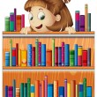 A playful young girl in the library — Stock Vector