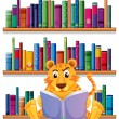 An angry tiger reading in front of the wooden shelves with books — Stock Vector #27415995