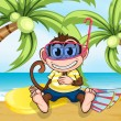 A monkey with goggles at the beach — Stock Vector