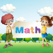 A girl and a boy holding a math signage — Stock Vector #27416151