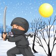 A ninja with a sword in the snow — Stock Vector