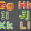 Stripe-colored letters of the alphabet — 图库矢量图片