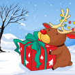 A reindeer holding a gift — Stock Vector #27416285