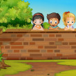 Children looking down the wall — Stock Vector