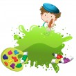 A boy painting — Stock Vector