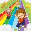 Happy children at the colorful road — Stockvectorbeeld