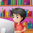 A boy playing computer in front of the shelves with books — Stock Vector