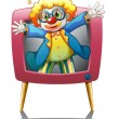 A clown inside the pink television — Stockvectorbeeld