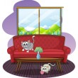 Kittens playing inside the house — Stock Vector